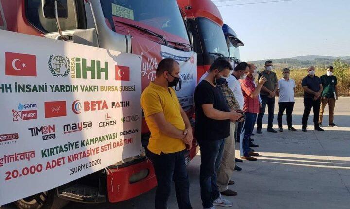 سكان بورصا التركية يرسلون 8 شاحنات إغاثية إلى حلب وإدلب