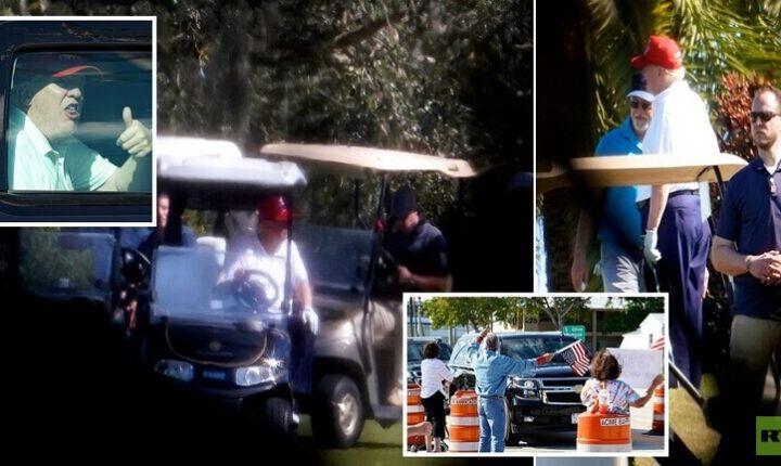ترمب يقضي عطلته الأولى كرئيس سابق في لعب الغولف