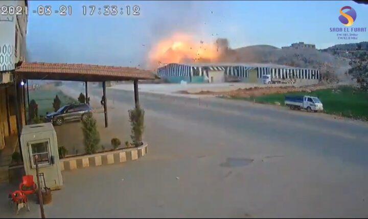 تسجيل لأحدى كاميرات المراقبة لقصف النظام يوم أمس منطقة سرمدا (فيديو)