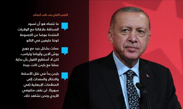 أردوغان: نتمنى الصداقة مع واشنطن رغم البداية غير الجيدة مع إدارة بايدن
